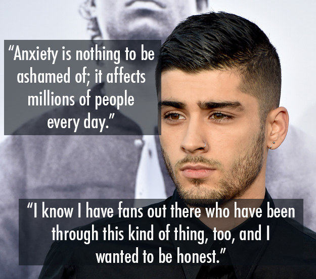 Zayn Malik has talked openly about his struggle with anxiety and an eating disorder.