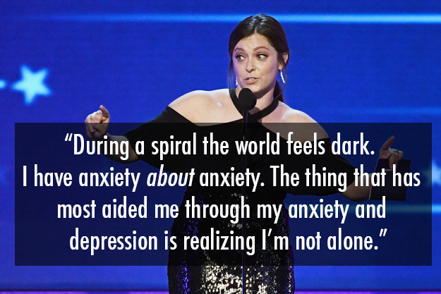 Rachel Bloom has spoken about depression and anxiety, and how seeing a psychiatrist has helped her.