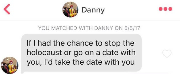 The swipe was a match, so Danny decided to reach out to Angelica with...this.