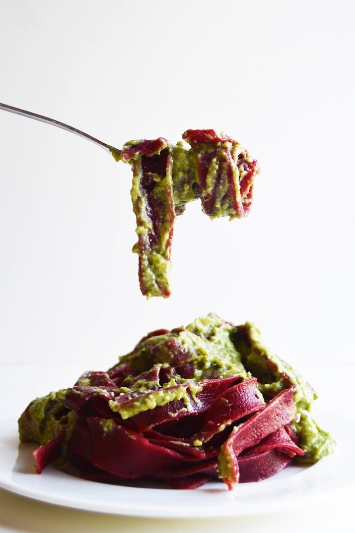 Start with oven-roasted beetroots and finish it all off with a zesty, nutty homemade avocado pesto. Get the recipe.