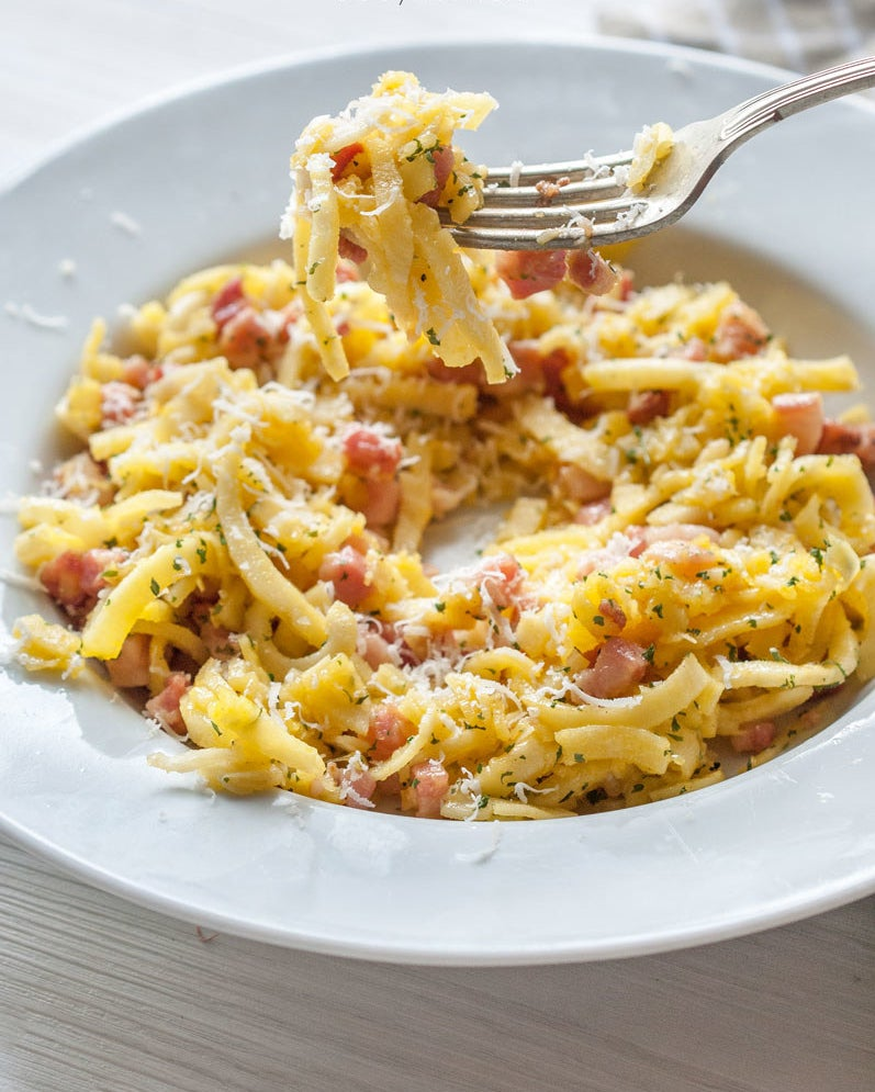 Take a cue from the Romans with this fancy, cream-less Carbonara. In lieu of spaghetti, this recipe calls for spiralized parsnips. Get the recipe.