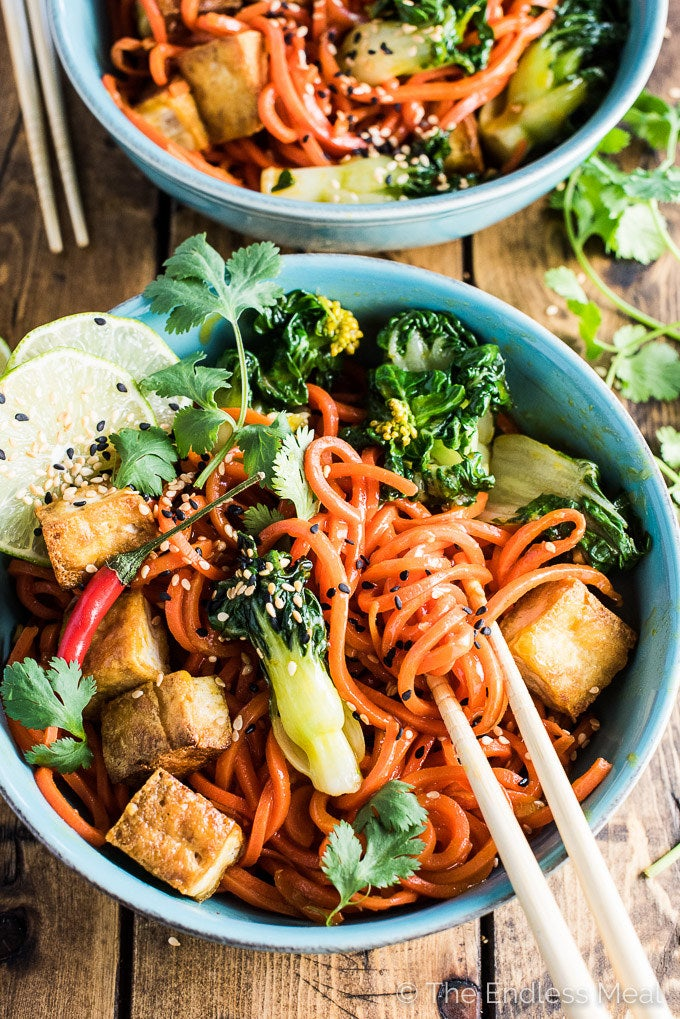 This homemade dish puts the local takeout to shame. Chewy carrot noodles topped with garlicky bok choy and crispy tofu hit all the right notes.Get the recipe.