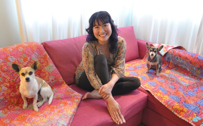 Dunker with her dogs at home in Los Angeles.
