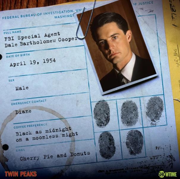 Agent Cooper's full name is Dale Bartholomew Cooper.