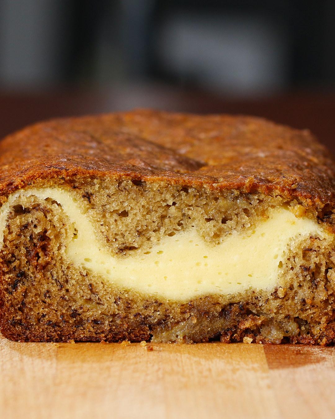 Cheesecake-Filled Banana Bread