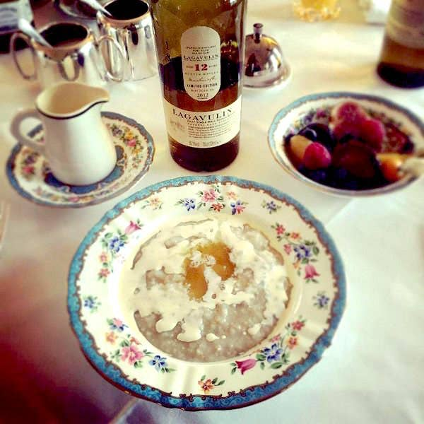 It's essentially Scotland's national dish, and was invented by crofters in Times of Yore, or possibly Yesteryear. Joy-phobic people put salt on theirs, but the wisest Scots top it with cream and whisky (whisky is a breakfast food in Scotland).