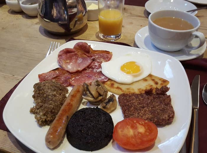 The exact make up of a traditional Scottish breakfast is debatable, and fights have broken out about it many times, usually in brightly-lit pubs the size of an aircraft hangar that serve £1 cocktails with names like Cystitis On The Beach.