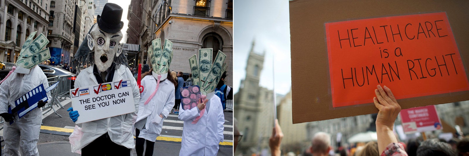 Left, protestors in New York, Jan. 2017. Right, protestors demonstrate at a health care rally in Philadelphia, Feb. 2017.
