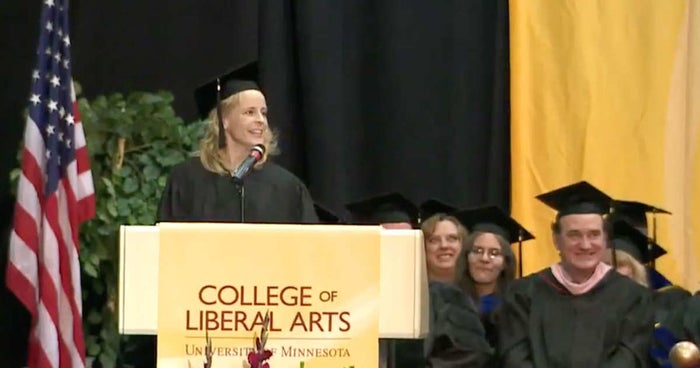 When Maria Bamford used her time speaking to teach a lesson about money and then gave her $5000 earnings for her speech to a graduating theater student to help pay down her student loans.
