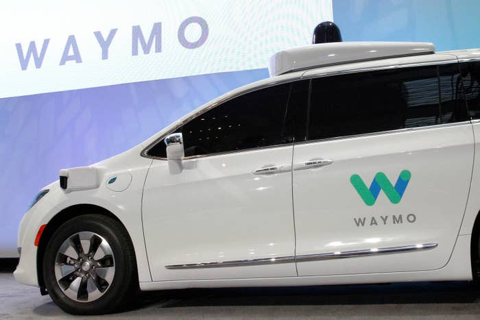 A self-driving Chrysler Pacifica minivan that Waymo unveiled on January 8, 2017.