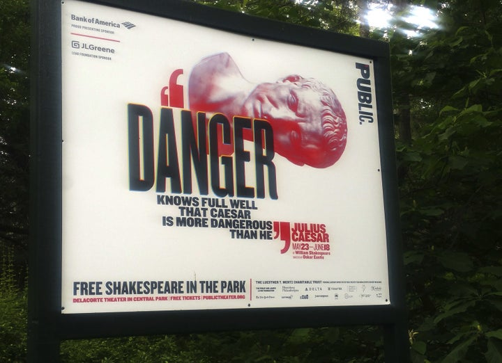 At least two sponsors have pulled their support from an adaptation of William Shakespeare's Julius Caesar, amid controversy that the play depicts the assassination of a Donald Trump lookalike.
