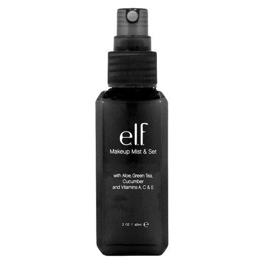 "Promising Review: ""Though I have been using e.l.f products awhile, I wasn't so sure about using this because I have sensitive skin. I took a chance and used it sparingly and then started using it on my entire face. I am so pleased with it!! I wear liquid foundation and concealer, and use setting powder under my eyes, as well as powder contour, highlight, and blush. I spray this onto a beauty blender and tap it lightly all over my skin. It hydrates and sets the power so well that it blends seamlessly into my skin. If I need a hydrating touch up later in the day, I follow the same method and it honestly looks like I just applied my makeup -- it looks fresh and vibrant. I couldn't be happier, I absolutely LOVE it."" —yinzerPrice: $3 (Cruelty-free and PETA certified.)"