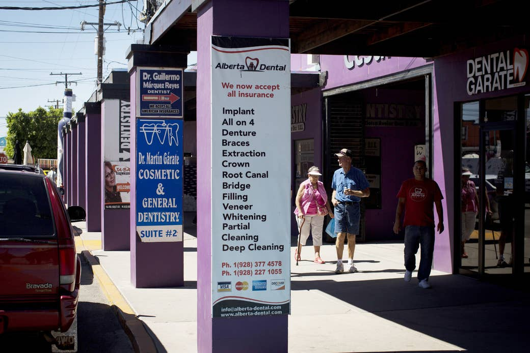 Tourists from the United States on May 19, 2017, in Los Algodones, Mexico.