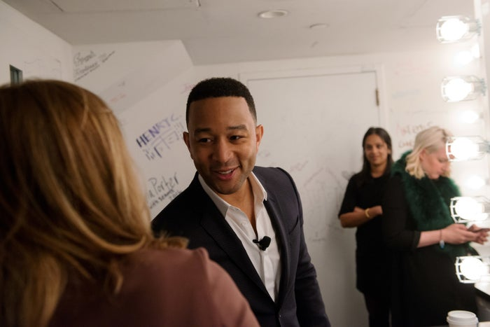 John Legend, right, greets New York City Council Speaker Melissa Mark-Viverito, left, before an event for the #CLOSErikers campaign on May 8, 2017 in New York.