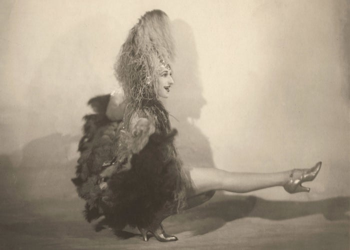 Teddy Caisser performs as his persona Mademoiselle Sousette, in France, circa 1920.