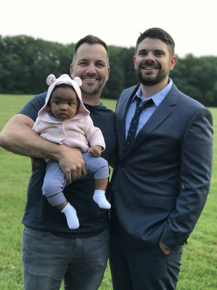 Nick, 43, and Chris, 30, Padien-Hill, with their daughter Ari from Chicago, Illinois.What is your favorite thing about being a dad? Nick: Knowing that I'm responsible for my daughter's health and happiness and being there to help her along the way as she uncovers all that this world has to offer.Chris: Family has always been such an important thing to me, and my favorite thing about being a new dad is being able to soak up all the many milestones that occur in the first year and start forming our own little family traditions. I love that when my daughter sees my face in the morning she lets out the most contagious smile, and Nick will tell you I get entirely too much joy out of picking out her outfits!What do you want people to know about your family?Nick: We are a fun, caring, loving spontaneous family. We love just like any other family. We have ups and downs just like any other family but continue to love each other through it all.Chris: I would just want people to know that although we may not be your typical family, we are held together with love and laughter. We are very loyal and there to support each other through the good days, bad days, and everything in between.