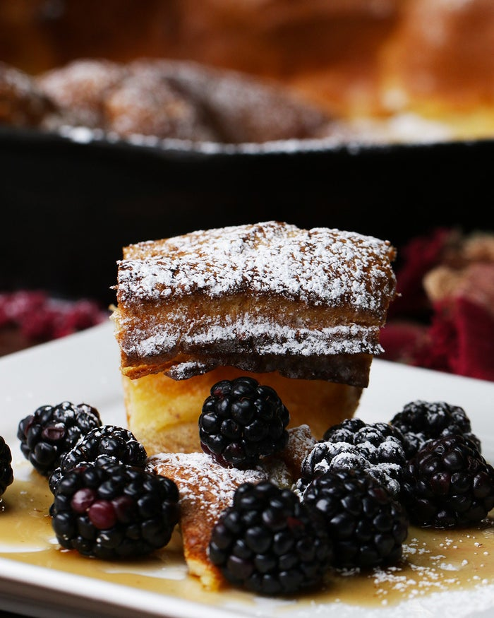 Servings: 8INGREDIENTS¾ cup flour¾ cup warm milk1 tablespoon sugar1 teaspoon nutmeg3 eggs4 tablespoons butter PREPARATIONPreheat the oven to 400ºF/200ºC.In a medium bowl, combine the flour, milk, sugar, nutmeg and eggs and mix until smooth.In a cast iron skillet over medium low heat, add the butter and swirl around the pan until completely melted. Working quickly, pour the batter into the skillet and carefully transfer to the oven. Bake for about 20 minutes until the edges have risen considerably and cooked through.Serve warm with your favorite toppings!
