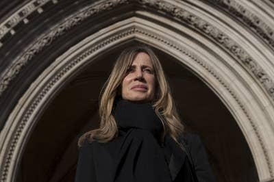 Michelle Young on the steps of the High Court, where she commenced the longest-running divorce battle in British legal history.