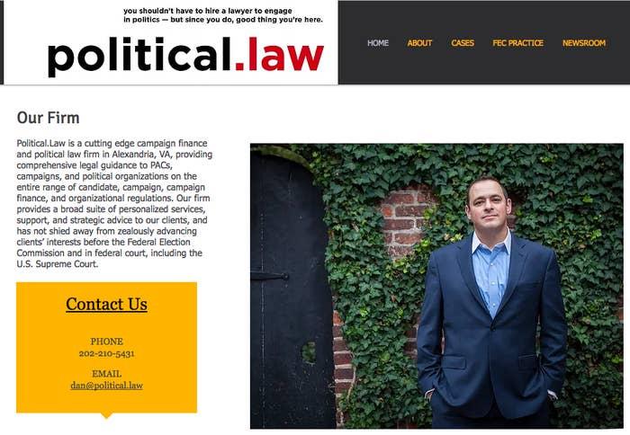 The website of Dan Backer's law firm