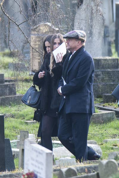 Jonathan Brown with Sasha and Scarlet at Young's funeral