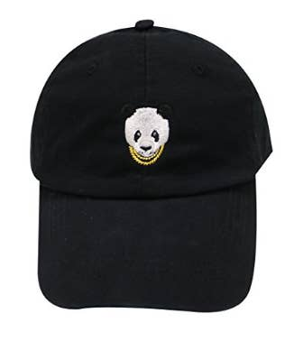 d9941f587d5 A gold chain-wearing panda bear hat. Pandas are obviously adorable as hell