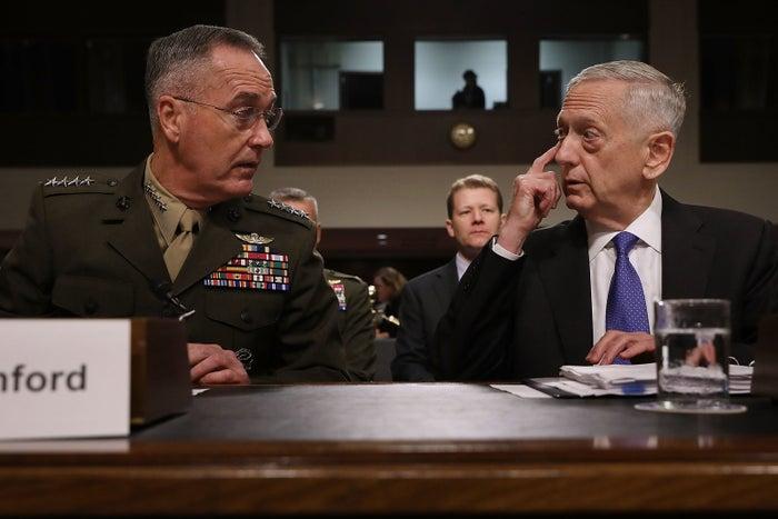 Chairman of the Joint Chiefs of Staff: Marine Corps Gen. Joseph Dunford and Defense Secretary James Mattis.