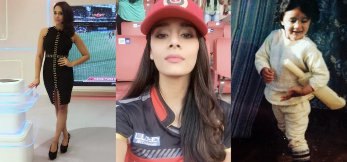 Three avatars of cricket fan Mayanti Langer.