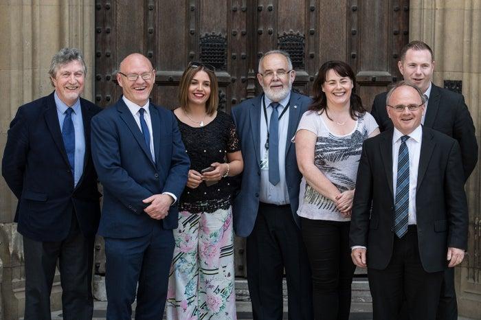 Newly elected Sinn Féin MPs (from left): Mickey Brady, Paul Maskey, Elisha McCallion, Francie Molloy, Michelle Gildernew, Barry McElduff, and Chris Hazzard.