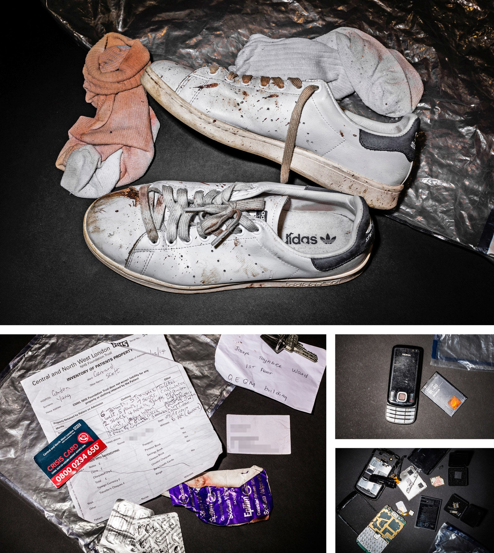 Evidence from the scene of Young's death, obtained by BuzzFeed News – including the phones in his pocket when he fell.