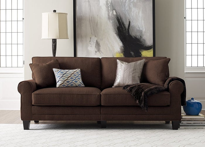 """Promising review: """"Very surprised by the couch. I'm a big guy (6' 3"""" and 250lbs) and it feels plenty comfortable, looks nice, and seems sturdy. The shipping was great, and the whole thing being in one box was really convenient. Assembly was easy."""" --Matt S.Shipping: Free!Get it from Amazon for $302.44. Also available in beige for $321.99."""