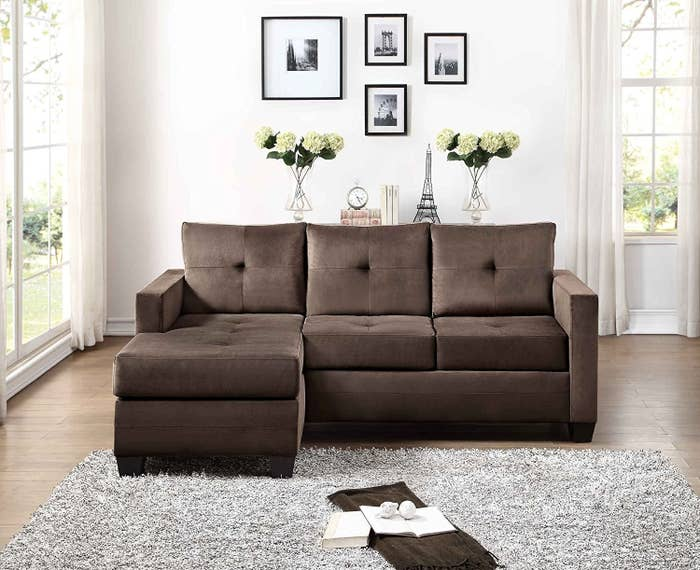 15 A Brown Sectional With Contemporary Design And Chaise That Is Reversible