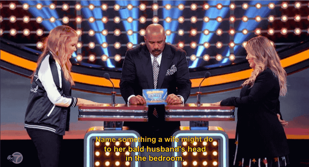 Steve got down to it and asked the first question: Name something a wife might do to her bald husband's head in the bedroom.