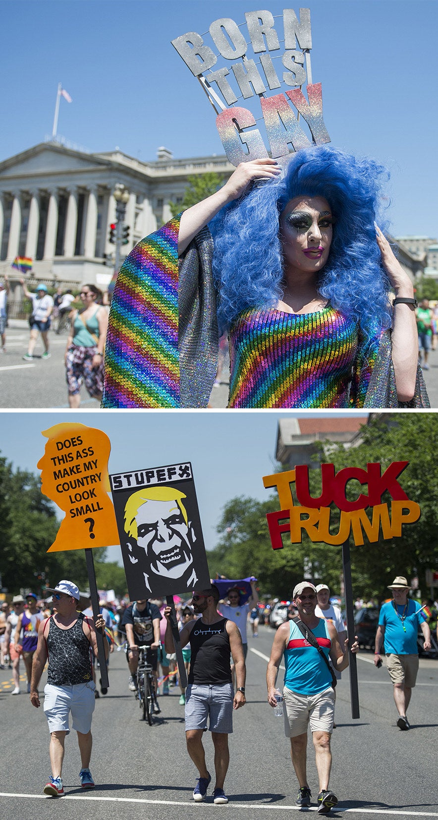 LGBT people and supporters take part in the Equality March for Unity in Washington, DC, on June 11, 2017.