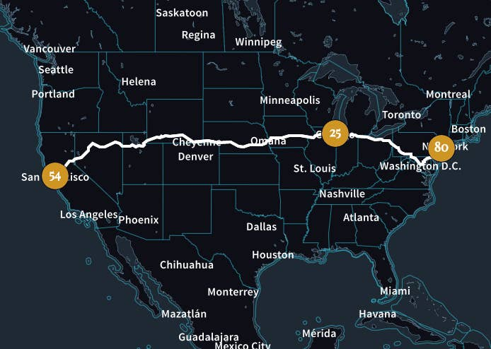According to University of Pennsylvania data scientist Randal Olson — who used an algorithm to create a route that would minimize time spent driving and maximize time spent stuffing your face — the entire road trip would take you five months. And that's if you eat at one Michelin-starred restaurant every night. Don't mind if I do.