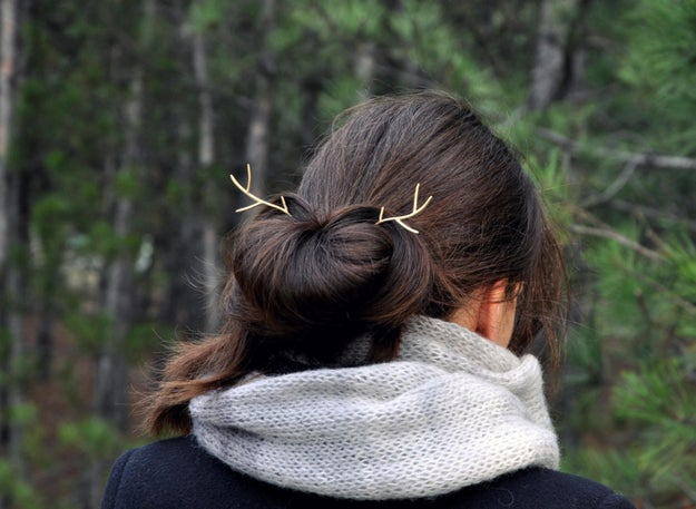 A hair pin that will turn you into a majestic, antlered forest nymph.