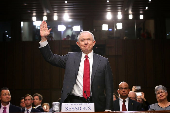 US Attorney General Jeff Sessions is sworn in prior to testifying before the Senate Intelligence Committee on Capitol Hill June 13 in Washington, DC. Sessions recused himself from the Russia investigation and was later discovered to have had contact with the Russian ambassador last year despite testifying to the contrary during his confirmation hearing.
