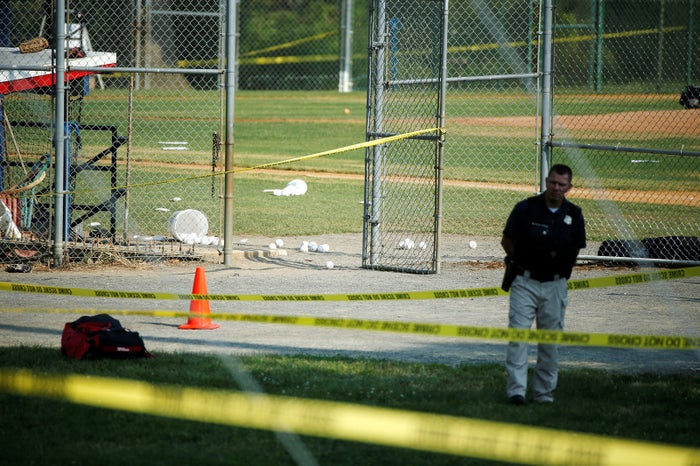 A police officer mans the scene after a gunman opened fire on Republican members of Congress during a practice for the Congressional Baseball Game in Alexandria, Virginia, on June 14.