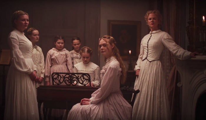 Kirsten Dunst, Emma Howard, Addison Riecke, Oona Laurence, Angourie Rice, Elle Fanning, and Nicole Kidman in The Beguiled.