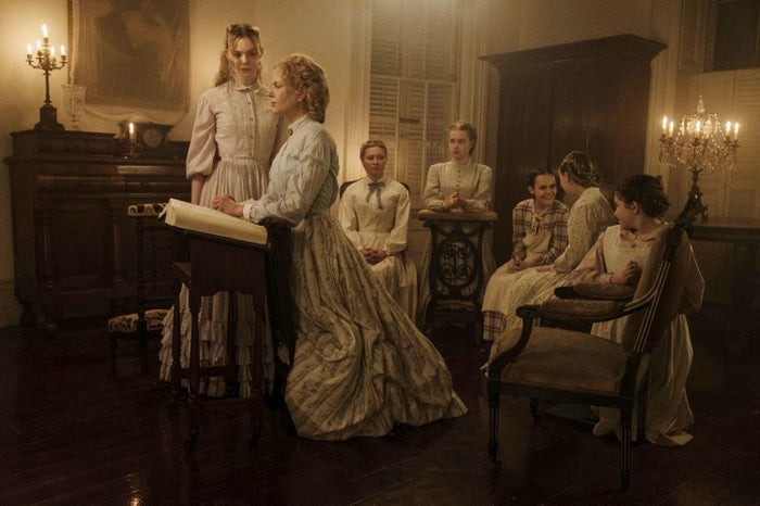 Alicia (Elle Fanning), Martha (Nicole Kidman), Edwina (Kirsten Dunst), Jane (Angourie Rice), Amy (Oona Laurence), Emily (Emma Howard), and Marie (Addison Riecke) in The Beguiled.