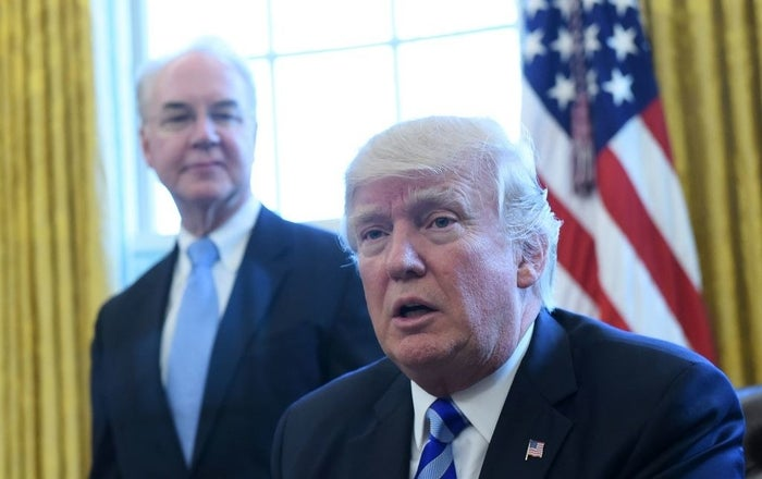 President Trump with Health and Human Services Secretary Tom Price in March.