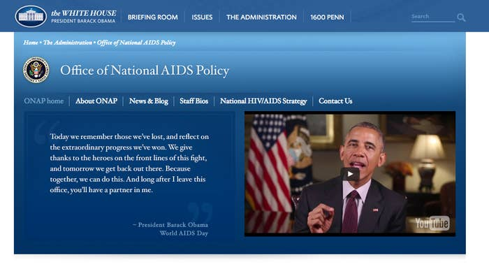 The Office of National AIDS Policy under President Obama.
