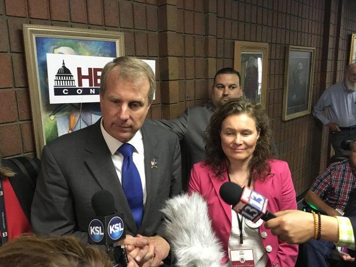 Chris Herrod speaks to reporters Saturday.