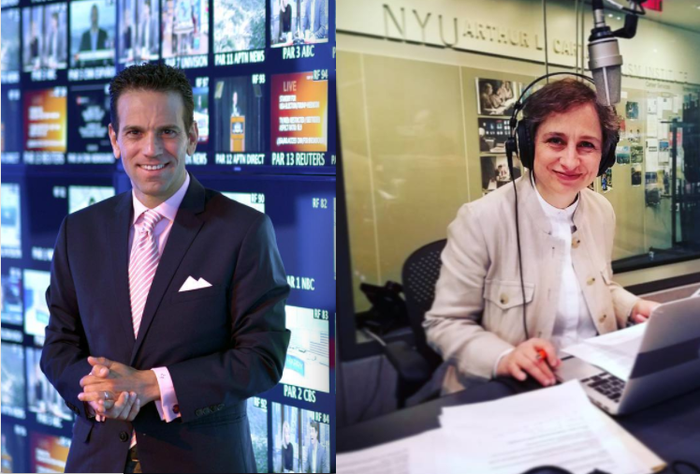 Mexican journalists Carlos Loret de Mola and Carmen Aristegui