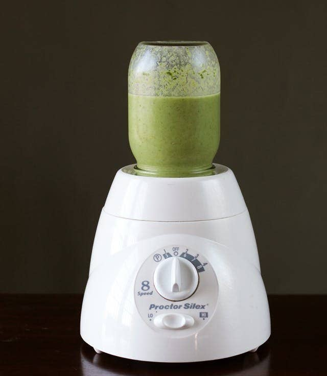 If you're feeling adventurous, most blender blades perfectly screw onto a mason jar. Just blend your smoothie and pop the lid back on for a perfect on-the-go breakfast. Learn how to do it here.