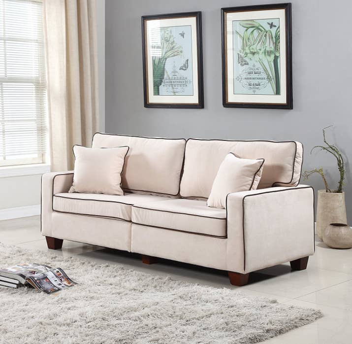 reasonable living room furniture. A modern two tone velvet sofa  22 Inexpensive Couches You ll Actually Want In Your Home
