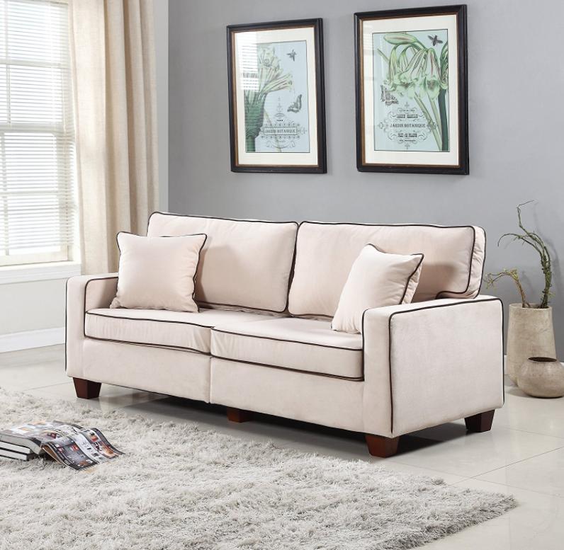A Modern Two Tone Velvet Sofa.