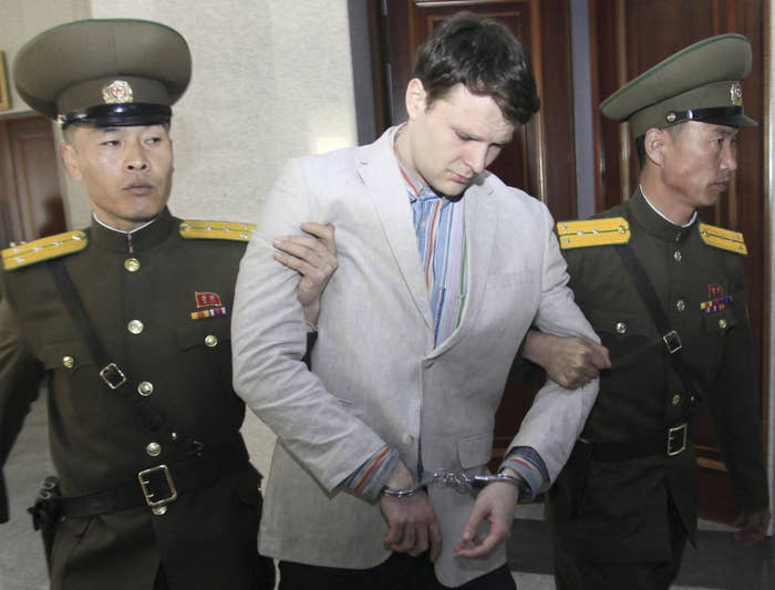 Warmbier at the Supreme Court in Pyongyang, North Korea, in March 2016.