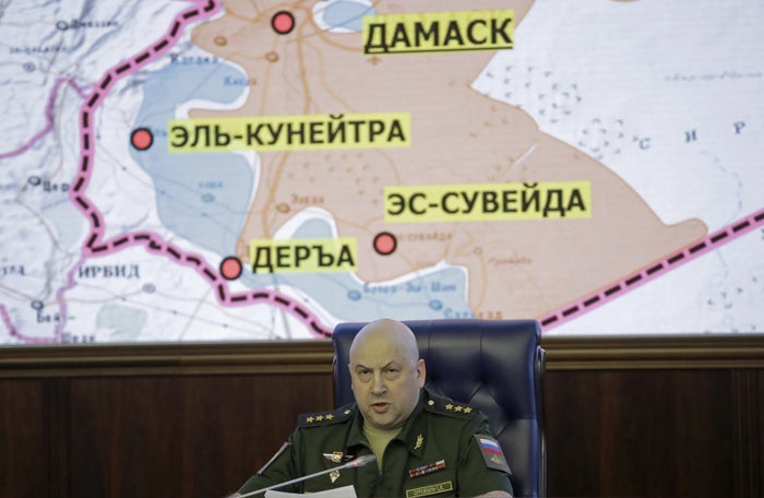 Colonel General Sergei Surovikin, Commander of the Russian forces in Syria, speaks in Moscow