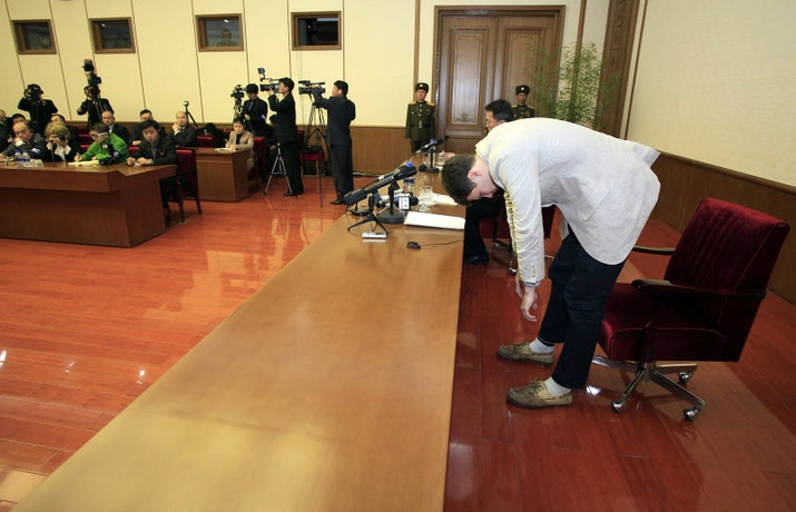 Warmbier before reading a statement in February 2016, in Pyongyang, North Korea.