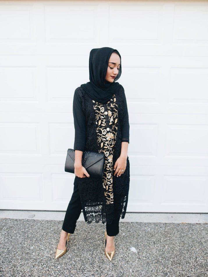 """""""Fashionwise, for Eid, I tend to gravitate more towards traditional Pakistani clothing that is simple, but still has an elegant twist. (Because who wants to be uncomfortable at 8AM for eid prayer?!) I actually picked out this black and gold ensemble myself in a boutique in Pakistan when I visited. The outfit stood out to me because it isn't overdone, but the golden and silver accents add an an element of luxe against the solid black lace."""""""